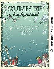 spiaggia, text., fondo, estate, campione