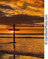 spiaggia, tramonto, croce, nero