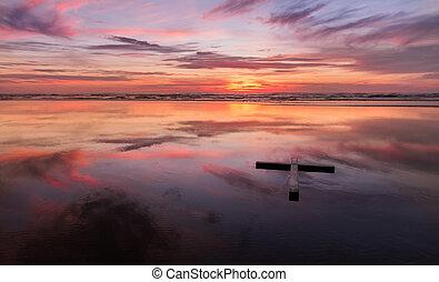spiaggia tramonto, croce, rosso, bagnato