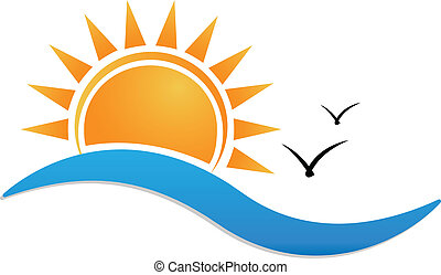 spiaggia tramonto, logotipo