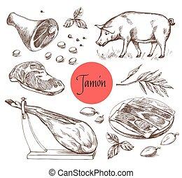 spices., jamon, vendemmia, incisione, style., illustrazione, menu, carne, carne, manzo