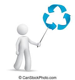 spiegando, simbolo, riciclaggio, uomo, 3d