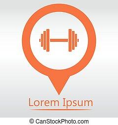 spillo mappa, isolated., equipment., palestra, -, sport, vettore, dumbbell, icona