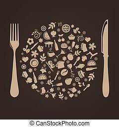 spina, forma, ristorante, icone, sfera, coltello