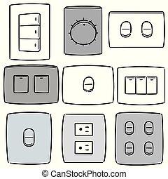 spina, interruttore, set, elettrico, vettore