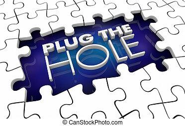 spina, riempire, puzzle, illustrazione, divario, risolvere, problema, pezzi, buco, 3d