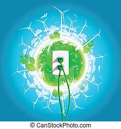 spina, verde, concetto, energia