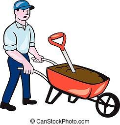 spinta, cartone animato, giardiniere, carriola
