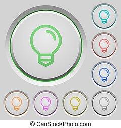 spinta, lampadina, bottoni
