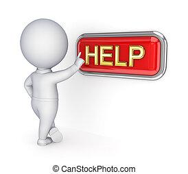 spinta, persona, help., 3d, bottone, piccolo