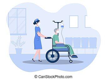 spinte, man., maschera, faccia, personale, carrozzella, invalido, medico, infermiera, dottore, o, porzione, paziente, concentrazione