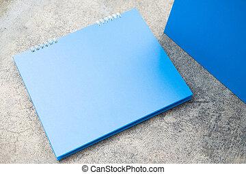 spirale, blu, calendario, carta, scrivania, vuoto