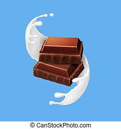 spirale, illustrazione, pezzi, realistico, schizzo, latte cioccolato, 3d