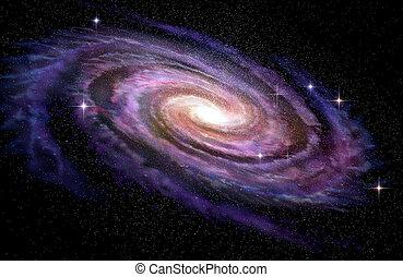 spirale, illustrazione, spcae, profondo, galassia, 3d