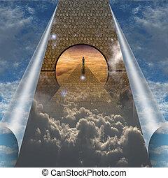 spirituale, scissioni, esposizione, cielo, viaggio, aperto, uomo