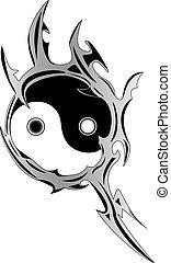 spirituale, yin, simbolo, yang