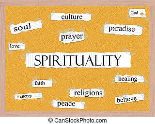 spiritualità, concetto, corkboard, parola