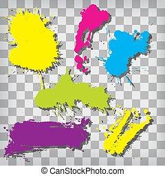 splash., spazzola, vernice, set, vettore, strokes., collezione