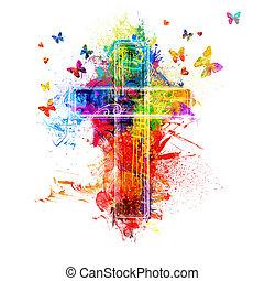 splatters, vernice, croce