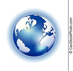 splendere, mappa, globo, sfondo blu