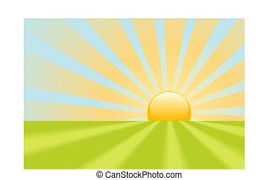 splendere, raggi, scena, giallo, luminoso, terra, alba