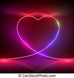 splendore, cuore, illustrazione, riflessioni, cordicella, simbolo, neon, vettore