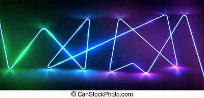 splendore, realistico, illustrazione, riflessioni, linea, laser, vettore, neon