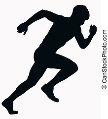 sport, atleta, maschio, -, sprint, silhouette