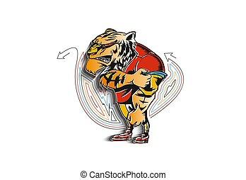 sport, forte, vettore, leone, potente, animale, illustration., mascotte