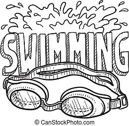 sport, nuoto, schizzo
