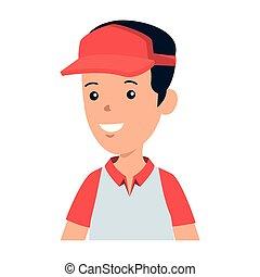 sport, ragazzo, berretto, carattere, giovane