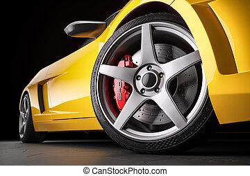 sport, render, closeup., 3d, freni, automobile, giallo, ruota