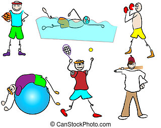 sport ricreazione, cartone animato