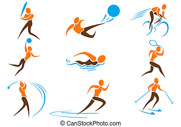 sport, set, icona