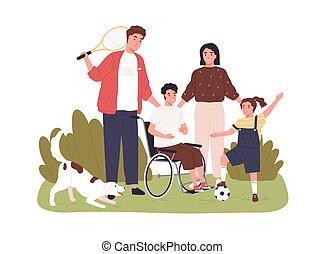 sport, suo, ruota, insieme, vettore, colorato, ragazzo, persone, family., invalido, appartamento, illustrazione, inclusion., attività, bambino, carrozzella, handicappato, chair., fondo, bianco, isolato