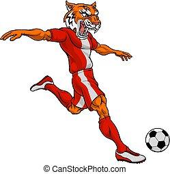 sport, tiger, football calcio, animale, mascotte, giocatore