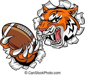 sport, tiger, mascotte, giocatore, football, americano