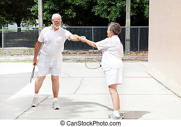 sportsmanship, racquetball, -, anziano