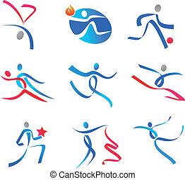 sportsmens, persone, ballo, icone