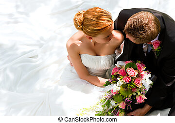sposa, coppia, sposo, -, matrimonio