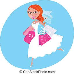 sposa, shopping, matrimonio