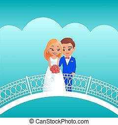 sposa, sposo, bridge., cartone animato
