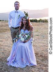 sposa, sposo, proposta, tramonto