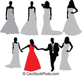 sposa, vettore, silhouette, collection.