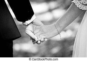 sposato, mani, presa a terra, coppia, giovane