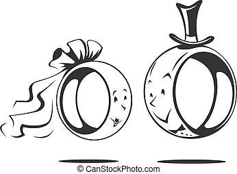 sposo, anello, bride., matrimonio