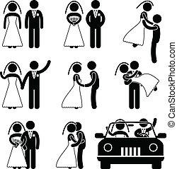 sposo, sposa, matrimonio, matrimonio