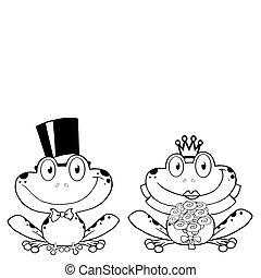 sposo, sposa, rana, contorno