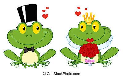 sposo, sposa, rana