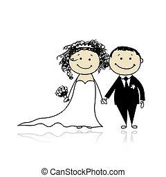 sposo, tuo, matrimonio, -, cerimonia, insieme, disegno, sposa